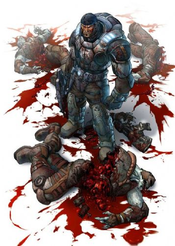 GAMES - GEARS OF WAR - BLOODBATH canvas print - self adhesive poster - photo print